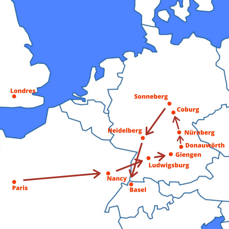 Carte Tour Allemagne 2020 - cherubins
